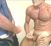 Hairy gays in uniform deep cock blowing