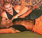 Interracial bald gay bear action on the floor